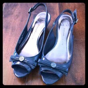 Etienne Aigner Navy Blue Slingback Shoes, Size 6